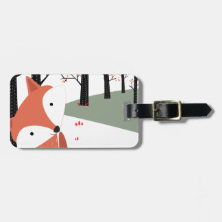 Vintage cute baby fox wolf smile happy in garden luggage tag