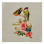 Vintage Cute Birds & Roses Landscape Painting Poster