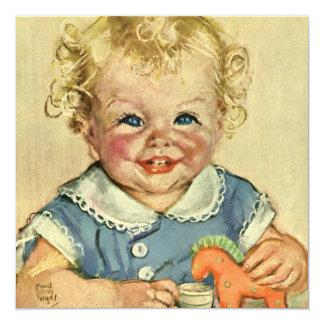 Vintage Cute Blonde Scandinavian Baby Boy or Girl Card