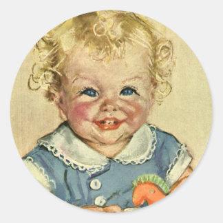 Vintage Cute Blonde Scandinavian Baby Boy or Girl Round Sticker