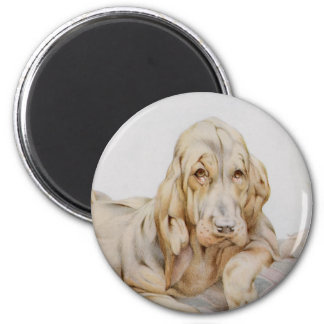 Vintage Cute Bloodhounds, Puppy Dogs by EJ Detmold 2 Inch Round Magnet