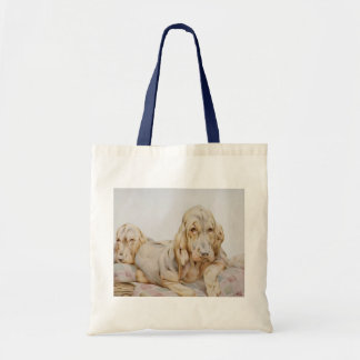 Vintage Cute Bloodhounds, Puppy Dogs by EJ Detmold Tote Bags