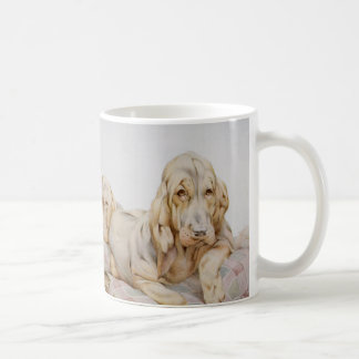 Vintage Cute Bloodhounds, Puppy Dogs by EJ Detmold Classic White Coffee Mug