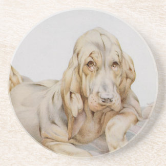 Vintage Cute Bloodhounds, Puppy Dogs by EJ Detmold Coasters