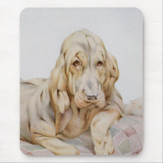 Vintage Cute Bloodhounds, Puppy Dogs by EJ Detmold Mouse Pad