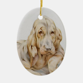 Vintage Cute Bloodhounds, Puppy Dogs by EJ Detmold Double-Sided Oval Ceramic Christmas Ornament