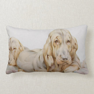 Vintage Cute Bloodhounds, Puppy Dogs by EJ Detmold Throw Pillows