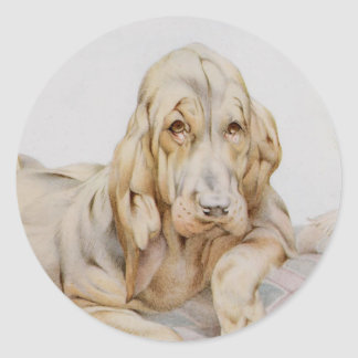 Vintage Cute Bloodhounds, Puppy Dogs by EJ Detmold Round Sticker