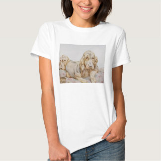 Vintage Cute Bloodhounds, Puppy Dogs by EJ Detmold Tee Shirt