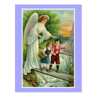 Vintage cute boy and girl with guardian angel postcard