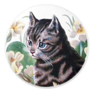 Vintage Cute Cat kitten amongst flowers Ceramic Knob