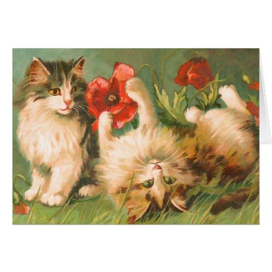 Vintage Cute Cats at Play Card