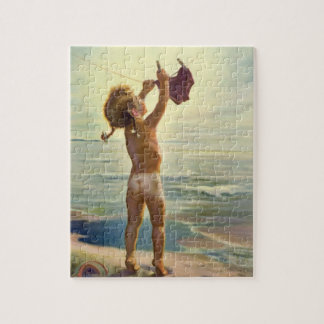 Vintage Cute Child Hanging Laundry at the Beach Jigsaw Puzzle