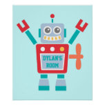 Vintage Cute Colourful Robot Toy For Kids Room Poster