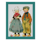 Vintage Cute Dutch Boy & Girl w/ Roses & Love Note Poster