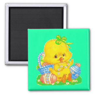 Vintage Cute Easter Duckling and Easter Egg Magnet