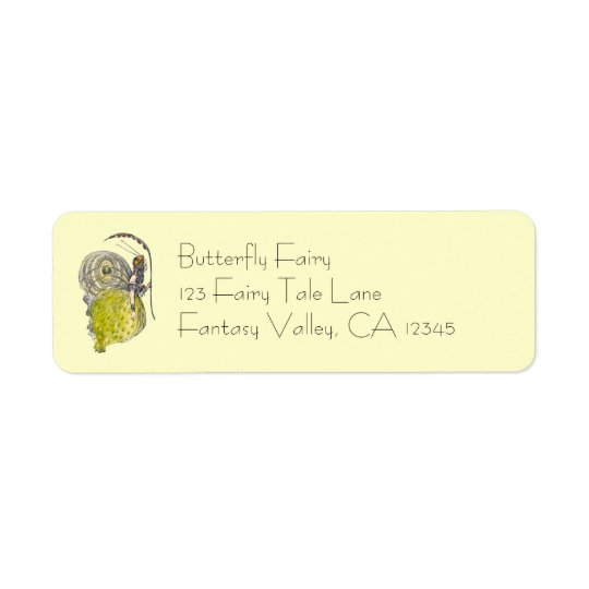 Vintage Cute Fantasy Butterfly Fairy with Wings Return Address Label