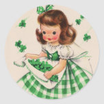 Vintage Cute Girl Shamrock St Patrick's Day Card Round Sticker