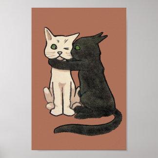 Vintage Cute Kissing Cat Art Poster Print