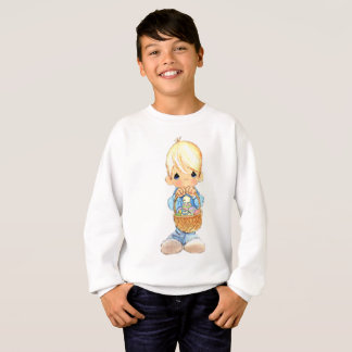 Vintage Cute Little Boy and Easter Egg Basket Sweatshirt