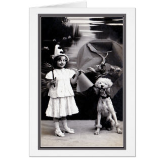 Vintage cute little Pierrot girl with poodle photo Card