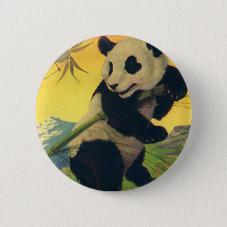Vintage Cute Panda Bear Eating Bamboo, Wild Animal 2 Inch Round Button