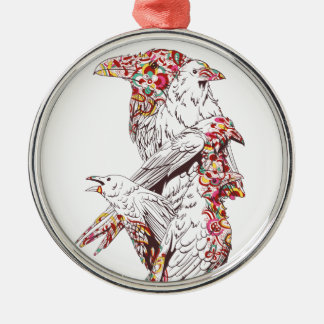 vintage cute parrots and animals metal ornament