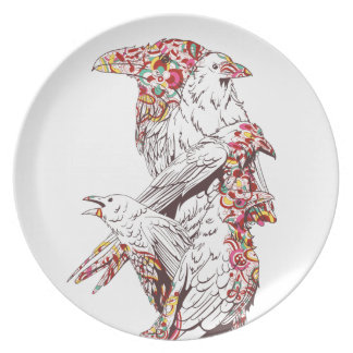 vintage cute parrots and animals plate