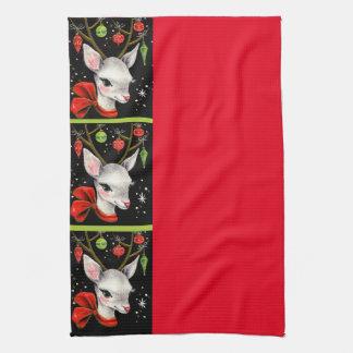 Vintage Cute Reindeer Hand Towels