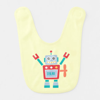 Vintage Cute Robot Toy For Baby Boys Bib