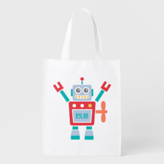 Vintage Cute Robot Toy For Kids Reusable Grocery Bag