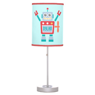 Vintage Cute Robot Toy For Kids Room Table Lamp