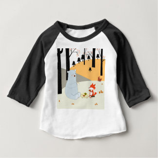 Vintage cute spring summer fox wolf and teddy bear baby T-Shirt