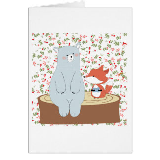 Vintage cute spring summer fox wolf and teddy bear card