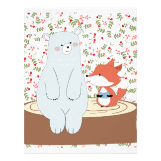Vintage cute spring summer fox wolf and teddy bear letterhead
