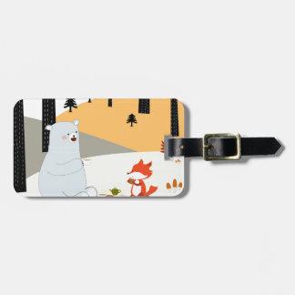 Vintage cute spring summer fox wolf and teddy bear luggage tag