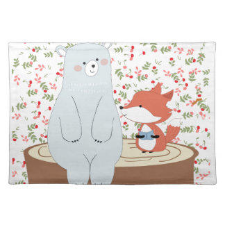 Vintage cute spring summer fox wolf and teddy bear placemat