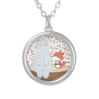 Vintage cute spring summer fox wolf and teddy bear silver plated necklace