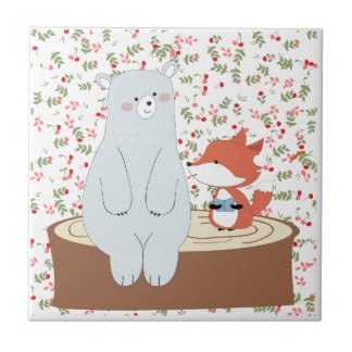 Vintage cute spring summer fox wolf and teddy bear tile
