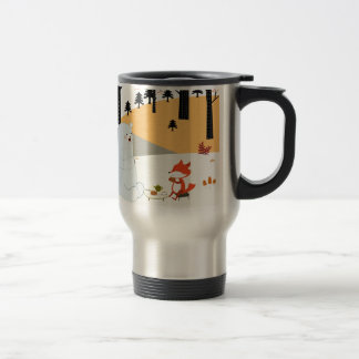 Vintage cute spring summer fox wolf and teddy bear travel mug