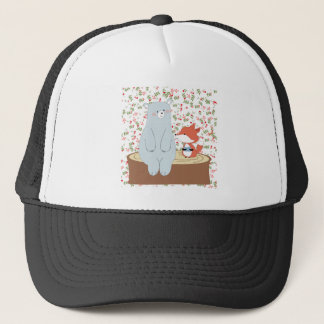 Vintage cute spring summer fox wolf and teddy bear trucker hat