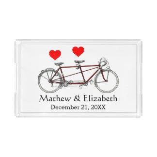 Vintage Cute Tandem Bicycle Custom Wedding Acrylic Tray