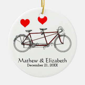 Vintage Cute Tandem Bicycle Custom Wedding Ceramic Ornament