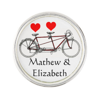 Vintage Cute Tandem Bicycle Custom Wedding Lapel Pin