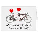 Vintage Cute Tandem Bicycle Custom Wedding Note Card