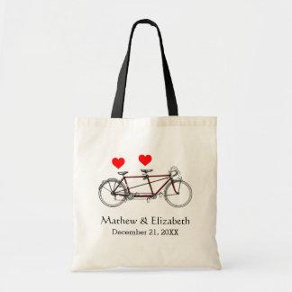 Vintage Cute Tandem Bicycle Custom Wedding Tote Bag
