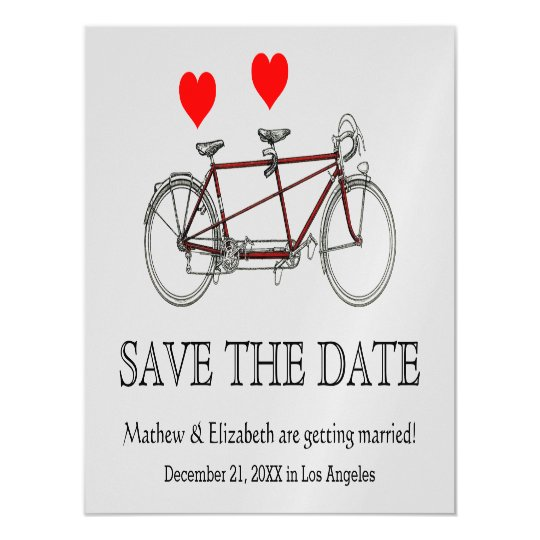 Vintage Cute Tandem Bicycle Wedding Save The Date Magnetic Invitations