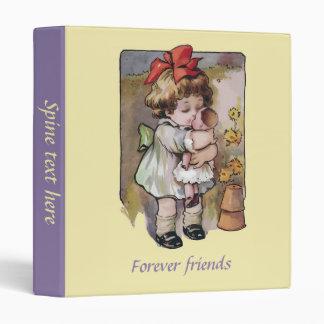 Vintage cute toddler girl and broken doll vinyl binders