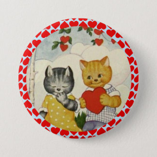 Vintage Cute Valentine Heart and Cat Couple 3 Inch Round Button