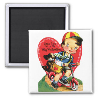 Vintage Cute Valentine's Day, Boy on a Scooter Magnet